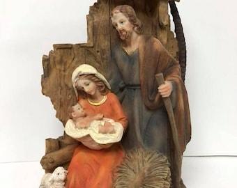"Holy Family Christmas Nativity Set Scene Figurines Mary with Baby Jesus Joseph with Manger 9.5"""