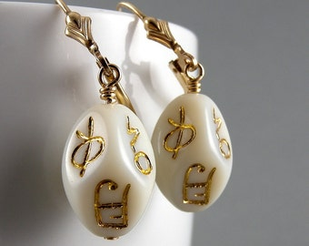 Cream and Gold Writing Vintage Glass Earrings with Free USA Shipping