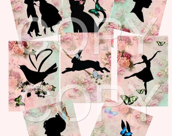 Instant Download  -  Silhouettes  -  Printable Digital Collage Sheet - Printable Art - Scrapbook Supply