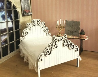 Miniature dollhouse romantic queen bed frame 1:12 scale