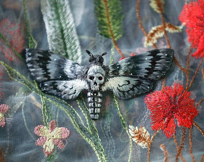 Skull Owl Brooch-Black