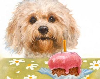 Cute Dog Happy Birthday Greeting Card - fluffy dog greeting card - small dog birthday card