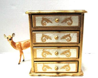 Vintage Florentine Music Box, Raindrops Keep Falling on My Head, Dx Jewelry Chest Ecru Gold Pull Out Drawers Boudoir Bride Treasures Japan