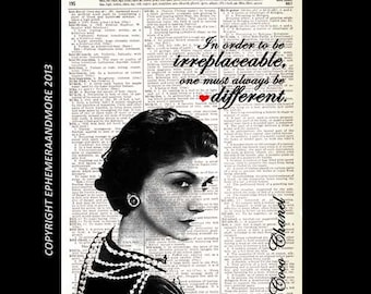 """COCO CHANEL art print """"In order to be irreplaceable, one must always be different"""" fashion quote retro vintage dictionary book page 8x10,5x7"""