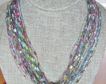 Gorgeous Trellis Scarf Necklace in Soft Pastel Shades  (SKU 106)