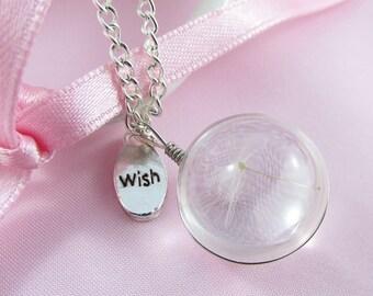 Glass Wishing Dandelion Wish Charm Pendant Necklace 80cm