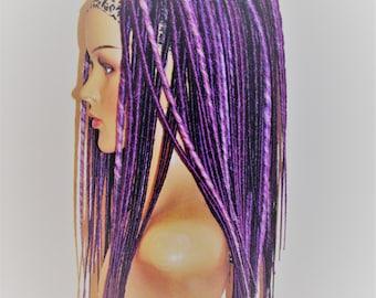 Synthetic dreads, Double ended dreads, full head dreads, synthetic dreadlock extensions, kanekalon dreads, purple dreadlocks