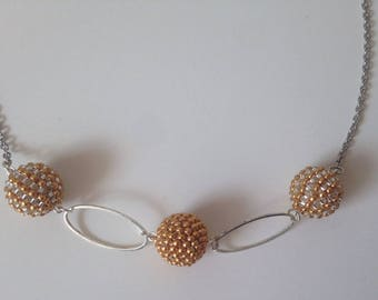 Gold and silver woven Bead Necklace