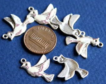 8 pcs of Silver plated bird drop 22x15mm