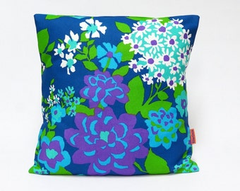 Blue Retro Pillow Cover, vintage fabric throw pillow, floral mid century cushion cover, designer pillow, accent pillow, Handmade by EllaOsix