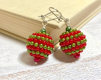 Huge Red and Green Pearl Striped Chunky Ball Vintage Ornament Style Christmas Earrings for Christmas with Surgical Steel Kidney Ear Wires