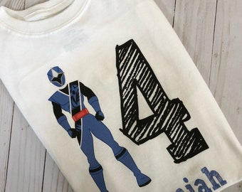 Power Ranger Blue Steel Ranger birthday shirt with name and digit