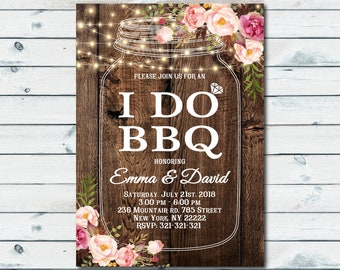 I Do BBQ Invitation, Couples Shower Invitation, Bridal Shower, Wedding Shower, I Do BBQ Mason Jar Invite Rustic Engagement Party 1105