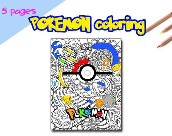 Pokemon coloring pages instant download, Pokemon coloring pages for adult, Pikachu coloring page, Pokemon drawing pages