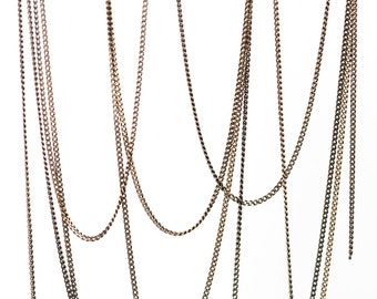 2408 Antique bronze chain 1.2 mm Flat copper chain Curb link chain Jewelry thin chain Oval link chain Meter chain Jewelry making 3 m