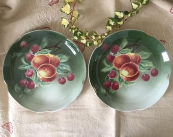 French vintage 2 plates 1910 varnished earthenware, Luneville faïence Handmade with fruits, peaches and cherries