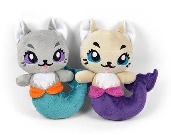 Mer-kitty Plush Minky Faux Fur Stuffed Animal Toy Kitty Cat Mermaid