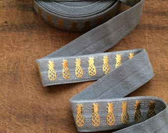 GREY with Gold PINEAPPLE Fold Over Elastic,Pineapple Foe, 5/8 Fold Over Elastic, Pineapple, Pineapple Elastic by the Yard, Elastic