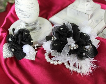 Black and white prom wristlet and boutonniere set, prom corsage, silk wristlet corsage with feathers, prom boutonniere, bout