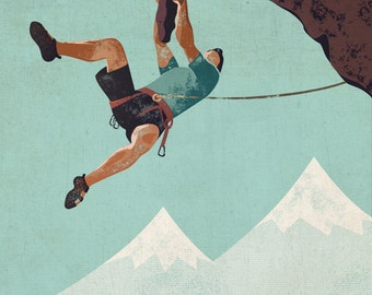 Vintage-Style Rock Climbing Poster