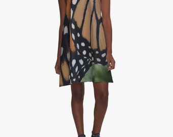Unique Printed Photo Dress Monarch Butterfly Wing Design Orange and Black A-Line various sizes