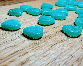 Unique Bright Blue Translucent Glass Heart Beads, 14x4mm, 25ct.
