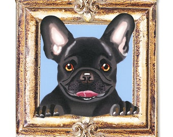 "French Bulldog Art Print on Canvas - Black - French Bulldog Art - Frenchie in a Frame - 8"" x 8"""