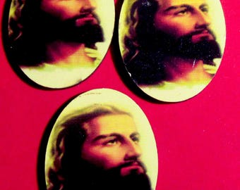 Catholic Jesus Christ Wood Cabochons Perfect for Jewelry Making, Altered Art, Scrapbooking, Assemblage Projects