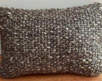 Wool Basketweave Textured Knit Lumbar Pillow in Brown