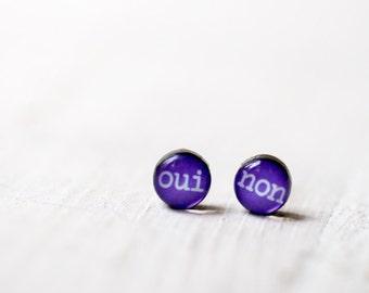Purple stud earrings, Oui earrings, Inspirational women gift, Stud oui non earrings, Oui jewelry, Yes and No earrings, Tiny stud earrings
