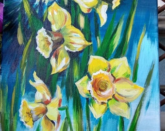 Spring flowers Daffodils , original acrylic painting, Joyful spring art, Sunshine and daffodils