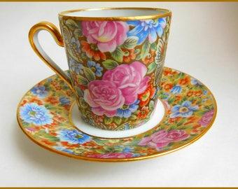 Antique Limoges Porcelain Demitasse/Espresso CUP/SAUCER Tapestry/Chintz Roses Butterflies