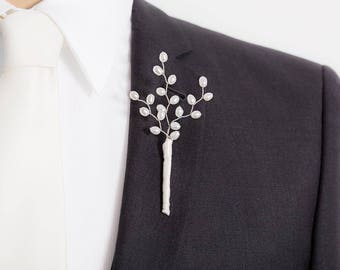 Limited Edition Genuine Freshwater Pearl Boutonniere - Pearl - White Boutonniere - Mens Boutonniere