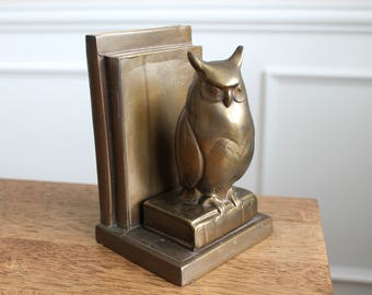 Vintage Art Deco 1930s Frankart Inc. Brass Owl Bookend