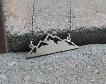 Silver Mountain Necklace, Mountain Pendant, Mountain Jewelry, Mountains Are Calling, Mountain Range Necklace, Gift for Hiker, Hiker Necklace