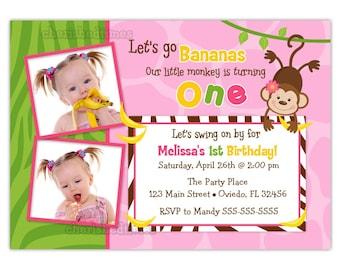 Going Bananas Boy or Girl or Twins Monkey Birthday Invitation (You Print)