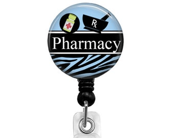 Badge Reel, Pharmacy Badge Reel for Men, Retractable Badge Holder, Pharmacist Name Tag Personalized Badge Reel, ID Badge Holder, 423D