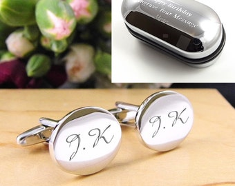 Silver OVAL Personalised Engraved Monogram Initial Cufflinks - Wedding and Birthday Gift - Personalised Engraved Gift Box Available