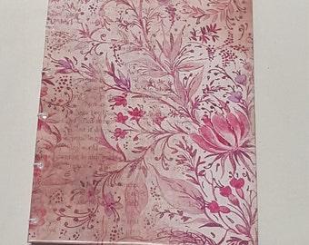 Pink Grunge/Flower Print Coptic Stitch Journal