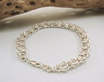 Sterling Silver Chain Maille (Helm Weave or parallel Weave) Bracelet, Unisex, chain maille jewelry