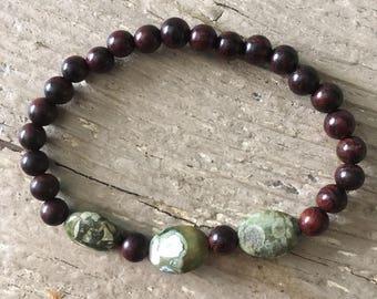 Brown Bayong Wood Mala Bead Bracelet with Moss Jasper Beads