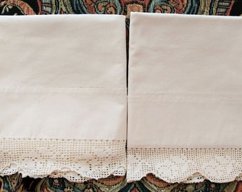 Vintage Heirloom Crocheted by Hand Filet Lace Scalloped Pillow Cases Pair vintage pillow cases lace pillow cases vintage pillow cases