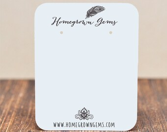 Jewelry Earring Display Cards - Boho Chic Feather Ornate  -  Customized - Jewelry Display and Packaging -  Necklace Cards - Branding