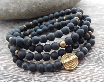 Black Agate Mala, Yoga Wrap Bracelet, Meditation Necklace, 108 Prayer Beads, Root Chakra Bracelet, Reiki charged