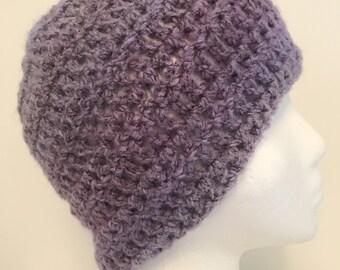 Mauve Beanie Hat Mauve Beanie Mauve Winter Hat Mauve Crocheted Hat Mauve Crocheted Beanie