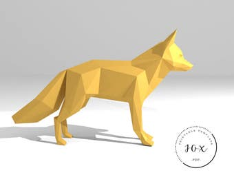 Printable DIY template (PDF).  Fox low poly paper model template. 3D paper trophy. Origami. Papercraft. Cardboard animal.
