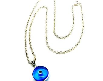 Evil Eye Necklace Sterling Silver Good Luck Protection Jewelry Lampwork Fused Glass Mati Greek Jewelry Gift For All