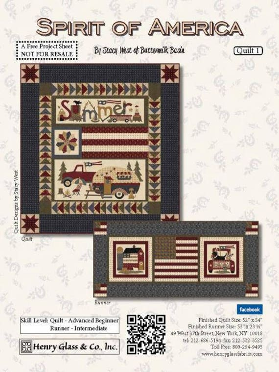 Lap Size Quilt Kit Patriotic Spirit of America by Stacy West of Buttermilk Basin Plus Table Runner Project. Campers, Old Trucks, Farmhouse