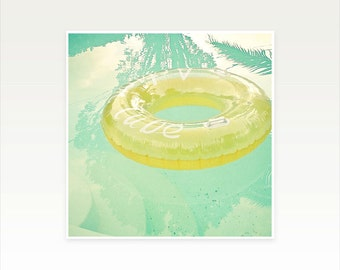 CLEARANCE SALE! Mid Century Swimming Pool Art, Pastel Summer Wall Art - Inviting