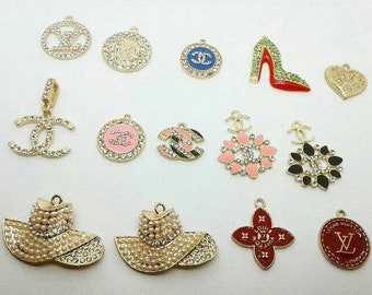 Designer Inspired Charms, Charms, logo charms, bling charms, pendants, rhinestone charms
